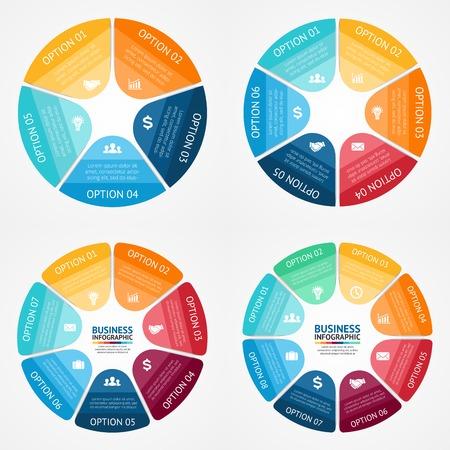 Infographie vectorielle couleur de cercle définis. Modèle de diagramme, graphique, présentation et graphique. Business concept avec 5, 6, 7, 8 options, des pièces, des mesures ou des procédés. Abstract background.