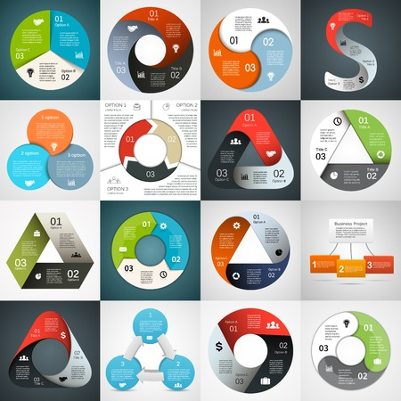 Vector circle triangle infographics set. Template for diagram, graph, presentation and chart. Business concept with 3 cyclic options, parts, steps or processes. Abstract background. 일러스트