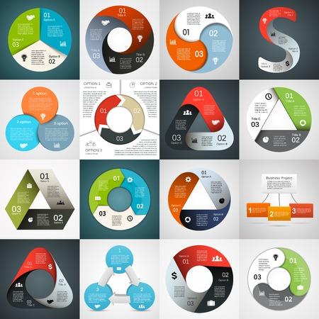 diagrama: Infografía Vector círculo triángulo establecen. Plantilla para el diagrama, gráfico, presentación y gráfico. Concepto de negocio con 3 cíclicos opciones, partes, etapas o procesos. Resumen de antecedentes.