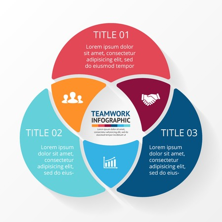 three: Vector social teamwork infographic. Template for circle diagram, graph, presentation and chart. Business concept with 3 options, parts, steps or processes. Abstract background.