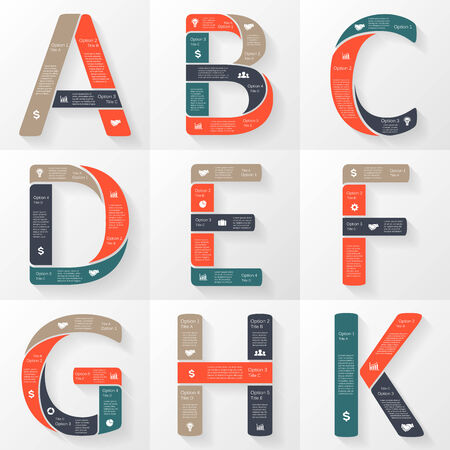 tipos de letras: Vector fuente infograf�a, diagrama con letras
