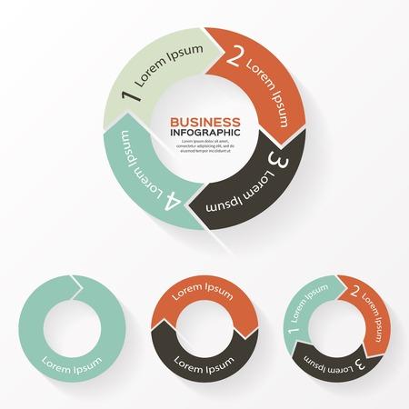 Circle arrows infographic, diagram, parts.