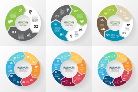 flechas: Flechas del círculo infográficas, diagrama, opciones.