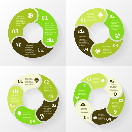 3 4: Eco infographic, circle arrows, 3, 4, 5, 6 steps.