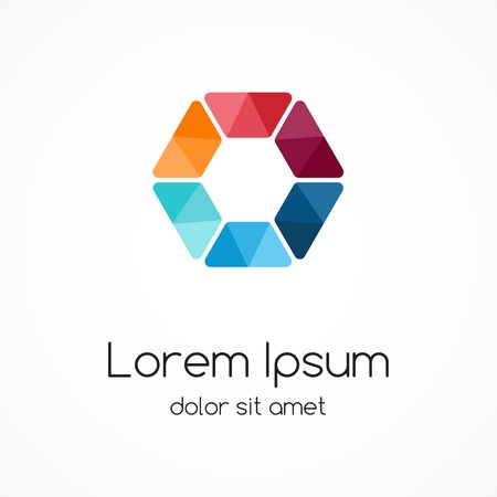 hexagon: Color logo template. Hexagon element, ymbol.