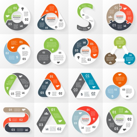 Infograf�a, diagrama, 3 opciones, partes, etapas. Vectores