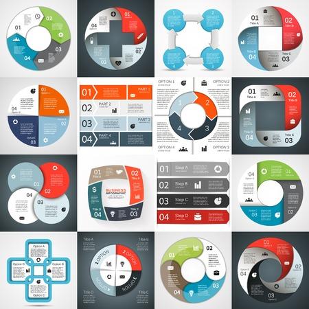 circulo de personas: Infograf�a, diagrama, 4 opciones, piezas, pasos.