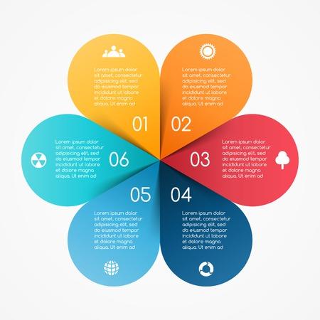 벡터 원 색상은 인포 그래픽 나뭇잎. 도표, 그래프, 프리젠 테이션 및 차트 템플릿. 6 옵션, 부품, 단계 또는 프로세스와 비즈니스 개념입니다. 추상적