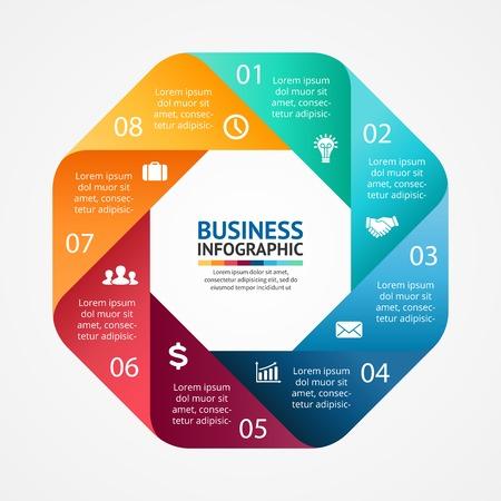 Vector cirkel infographic. Sjabloon voor het diagram, grafiek, presentatie en grafiek. Zakelijk concept met 8 opties, delen, stappen of processen. Abstracte achtergrond.