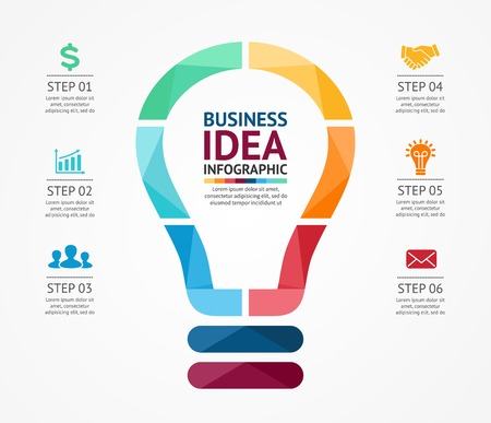 business project: Vector idea infographic with light bulb. Template for creative diagram, graph, presentation and chart. Business concept with 6 options, parts, steps or processes of brainstorm and creativity. Illustration