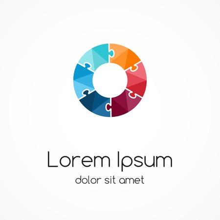 asociacion: Plantilla rompecabezas Logo. Signo creativo abstracto círculo, símbolo con 6 piezas.