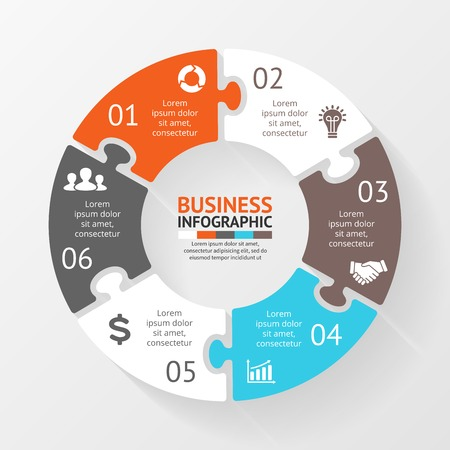 Vector circle puzzle infographic. Template for diagram, graph, presentation and chart. Business concept with 6 options, parts, steps or processes. Abstract background.