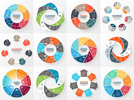 Vector circle arrows infographics set. Template for diagram, graph, presentation and chart. Business concept with 7 options, parts, steps or processes. Abstract background.  イラスト・ベクター素材