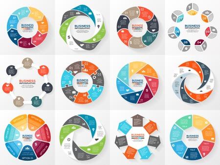 Wektor koło strzałki zestaw infografiki. Szablon do schematu, wykresu, prezentacji i wykresu. Koncepcja biznesowa z 7 opcji, części, etapów lub procesów. Streszczenie tle.