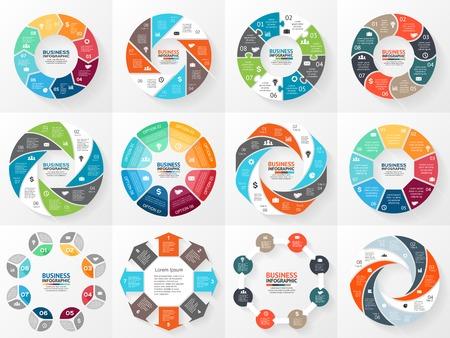 Vector cirkel pijlen infographics set. Sjabloon voor diagram, grafiek, presentatie en grafiek. Bedrijfsconcept met 8 opties, onderdelen, stappen of processen. Abstracte achtergrond. Stock Illustratie