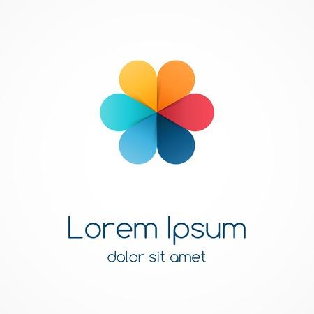 Logo plantilla con hojas de color. Signo creativo abstracto círculo, símbolo con 6 piezas.