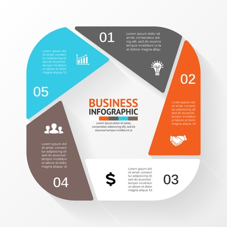 pentagon: Vector circle pentagon infographic. Template for diagram, graph, presentation and chart. Business concept with 5 options, parts, steps or processes. Abstract background. Illustration