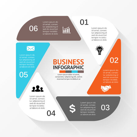 six: Vector circle hexagon infographic. Template for diagram, graph, presentation and chart. Business concept with 6 options, parts, steps or processes. Abstract background.