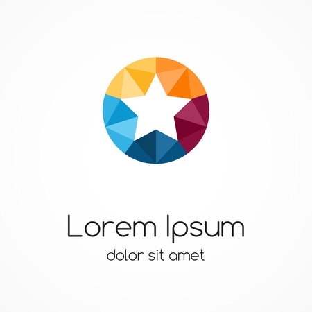 Logo star template. Abstract circle color creative sign, symbol with 5 parts. 일러스트