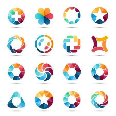 asociacion: La insignia fijó. Signos Circle y símbolos.