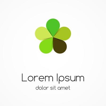 Círculo verde deja logotipo. Eco signo, símbolo. Vectores