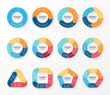 Cercle flèches infographies, diagramme, graphique.