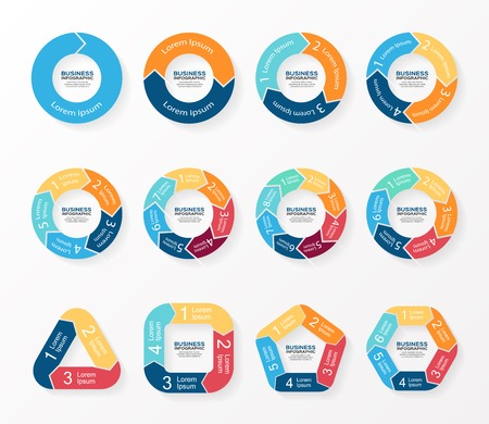 Circle pijlen infographics, diagram, grafiek. Stock Illustratie