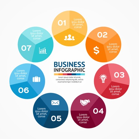 business cycle: Circle infographic. Diagram, graph, presentation.
