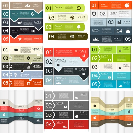 graph paper background: Vector lines infographics set.