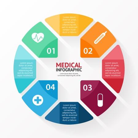 医療プラス記号医療病院インフォ グラフィック  イラスト・ベクター素材