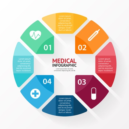diagrama: Medical signo de atenci�n m�dica hospitalaria infograf�a