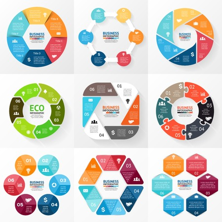 six: Circle infographic. Diagram, graph, presentation.