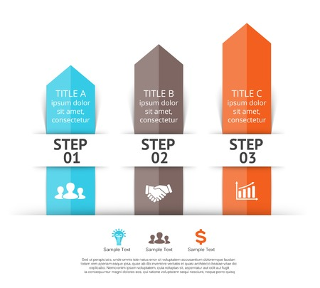 three:  arrows infographic of 3 steps to success. Illustration