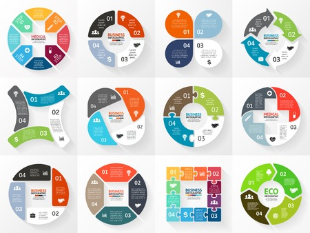bar charts: Vector circle arrows infographic, diagram, graph. Illustration