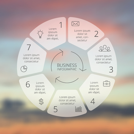 business plan: Circle line infographic on vector blur background.
