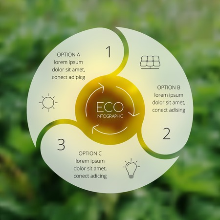 circle graph: Crcle ecology infographic. Nature blur background.