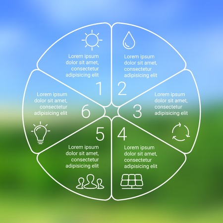 Crcle ecology infographic. Nature blur background. Vector