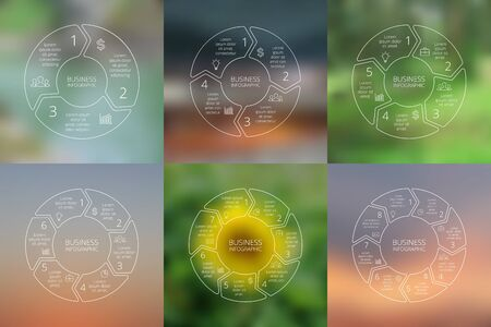 Circle arrows infographics set. Line infographic, diagram, graph, presentation and chart. Business concept with 3, 4, 5, 6, 7, 8 options, parts or steps. Linear graphic. Blur vector background. Vector