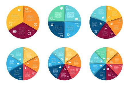 info chart: Vector circle infographics set. Template for cycle diagram, graph, presentation and round chart. Business concept with 3, 4, 5, 6, 7, 8 options, parts, steps or processes. Abstract background.