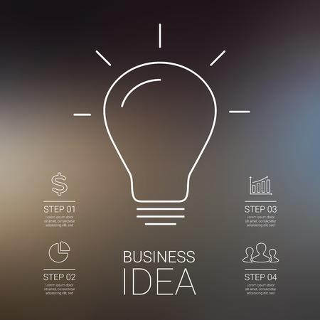 Idée infographie avec ampoule. Modèle de schéma créatif, graphique, présentation et graphique. Business concept avec 4 étapes de remue-méninges et de la créativité. Graphique linéaire. Blur vector background.