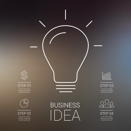 Idea infographic with light bulb. Template for creative diagram, graph, presentation and chart. Business concept with 4 steps of brainstorm and creativity. Linear graphic. Blur vector background.