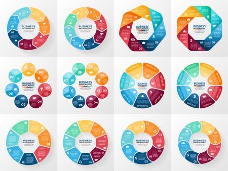 diagrama: Infograf�a vector fijadas. Colecci�n de plantillas de diagrama del ciclo, gr�fico, presentaci�n y tabla redonda. Concepto de negocio con 7 y 8 opciones, partes, etapas o procesos. Resumen de antecedentes.
