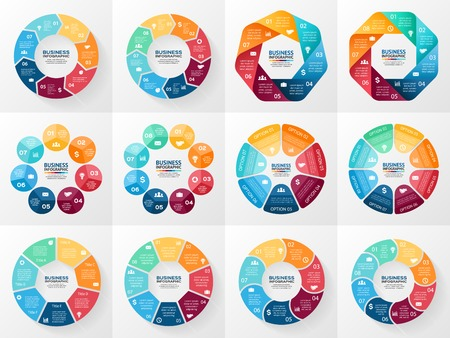Vector infographics set. Collection of templates for cycle diagram, graph, presentation and round chart. Business concept with 7 and 8 options, parts, steps or processes. Abstract background. Vettoriali