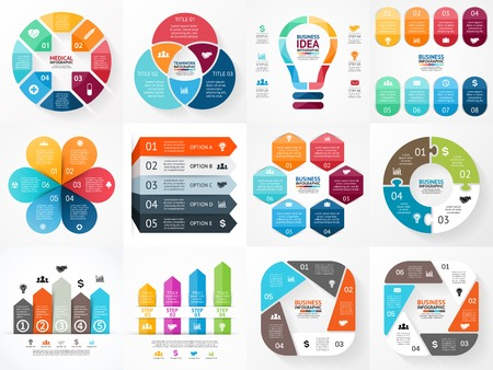 six: Vector infographics set. Collection of templates for cycle diagram, graph, presentation and round chart. Business concept with options, parts, steps or processes.