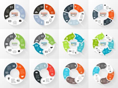 Vector cirkel pijlen infographic. Sjabloon voor cycle diagram, grafiek, presentatie en ronde grafiek. Zakelijk concept met 3, 4, 5, 6 opties, delen, stappen of processen. Abstracte achtergrond. Stock Illustratie