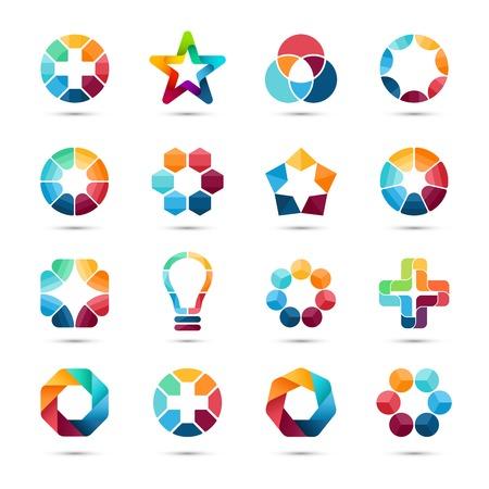 전세계에: 로고 템플릿을 설정합니다. 추상적 인 원형 창작 표지판 및 기호. 원, 더하기 기호, 별, 삼각형, 육각형, 전구 및 기타 디자인 요소입니다. 일러스트