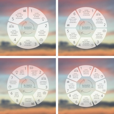 5 6: Circle line infographics set. Template for cycle diagram, graph, presentation and round chart. Business concept with 5, 6, 7, 8 options, parts, steps or processes. Linear graphic. Blur vector background. Illustration