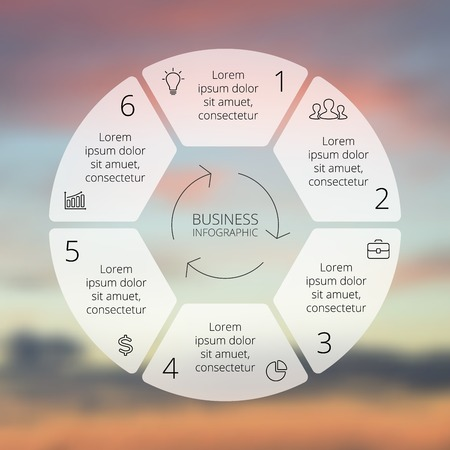 six: Circle line infographic. Template for cycle diagram, graph, presentation and round chart. Business concept with 6 options, parts, steps or processes. Linear graphic. Blur vector background.