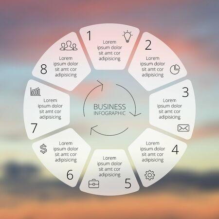 diagrama: Infograf�a l�nea Circle. Plantilla para el diagrama del ciclo, gr�fico, presentaci�n y tabla redonda. Concepto de negocio con 8 opciones, partes, etapas o procesos. Gr�fico lineal. Desenfoque del fondo del vector.
