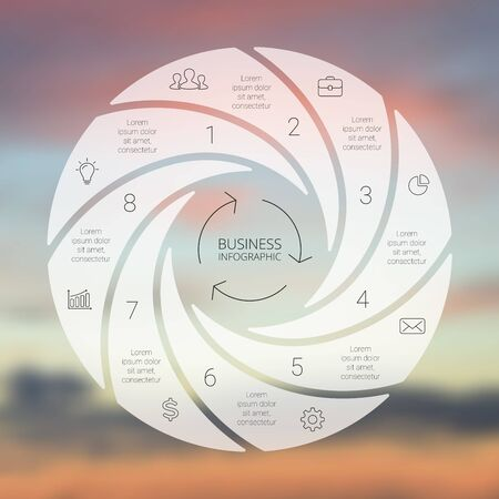 business cycle: Circle line infographic. Template for cycle diagram, graph, presentation and round chart. Business concept with 8 options, parts, steps or processes. Linear graphic. Blur vector background. Illustration
